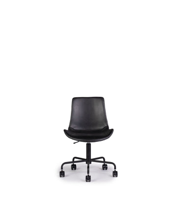 Modern Leather Office Chair In Black | Byron | Front View | MoblerOnline