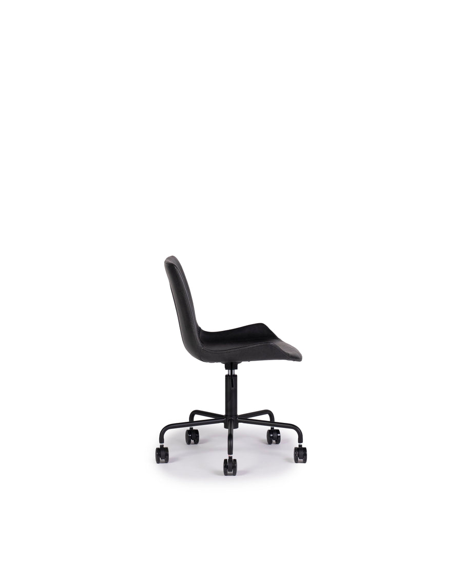 Modern Leather Office Chair In Black | Byron | Side View | MoblerOnline
