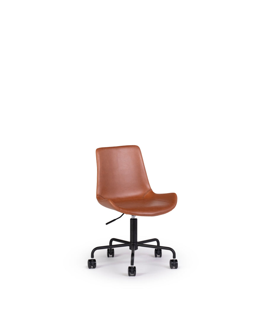 Modern Leather Office Chair In Brown | Byron | Angle View | MoblerOnline