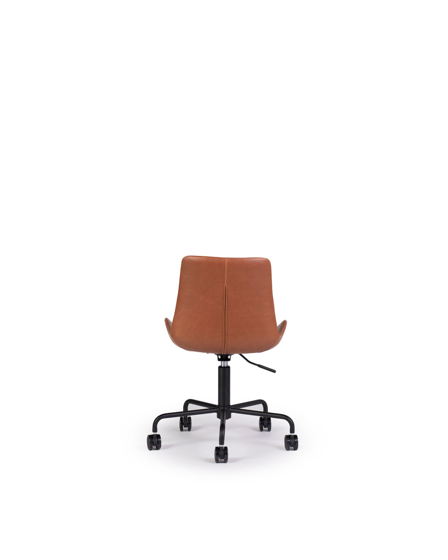 Modern Leather Office Chair In Brown | Byron | Back View | MoblerOnline