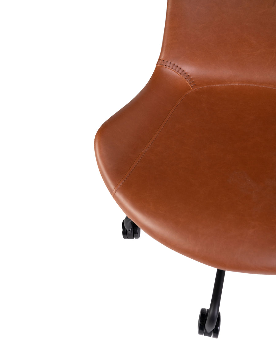 Modern Leather Office Chair In Brown | Byron | Close Up View | MoblerOnline