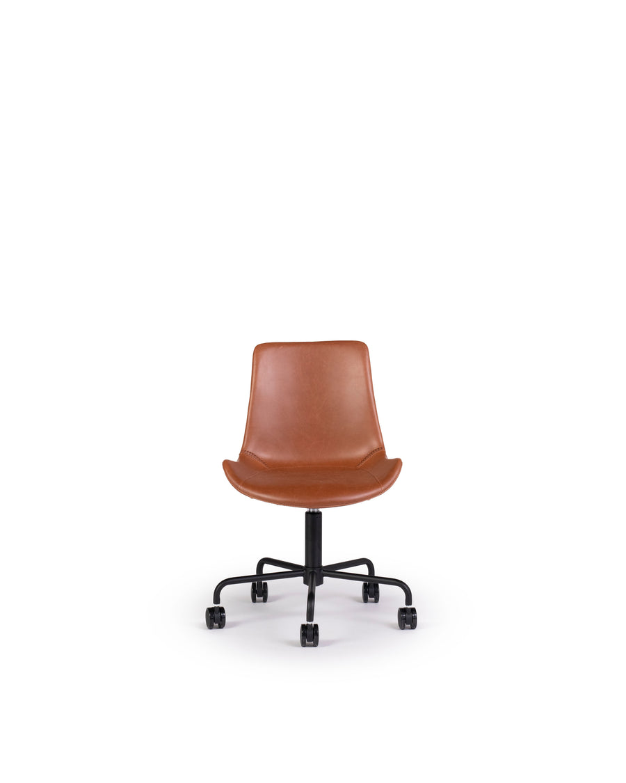 Modern Leather Office Chair In Brown | Byron | Front View | MoblerOnline