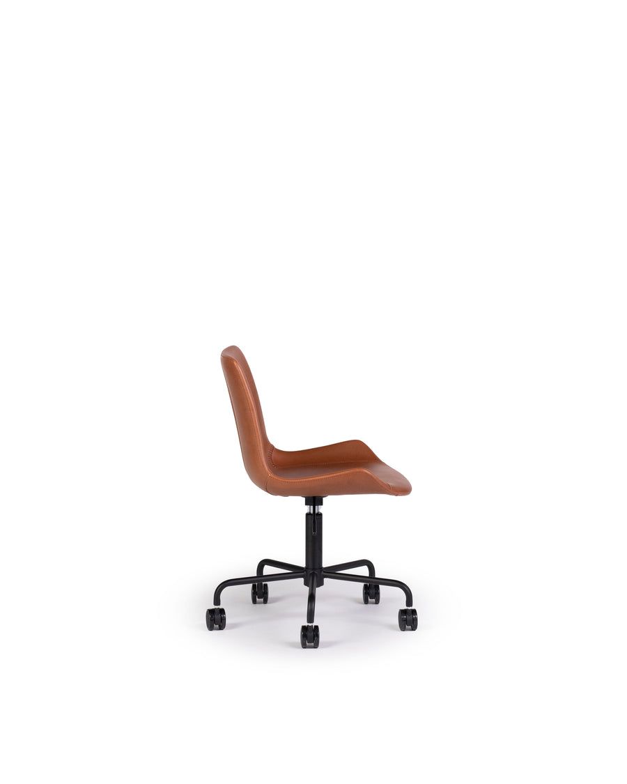 Modern Leather Office Chair In Brown | Byron | Side View | MoblerOnline