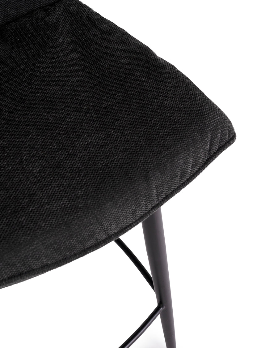 Modern Fabric Counter Stool In Black (Set of 2) | Broome | Detail Close Up View | MoblerOnline