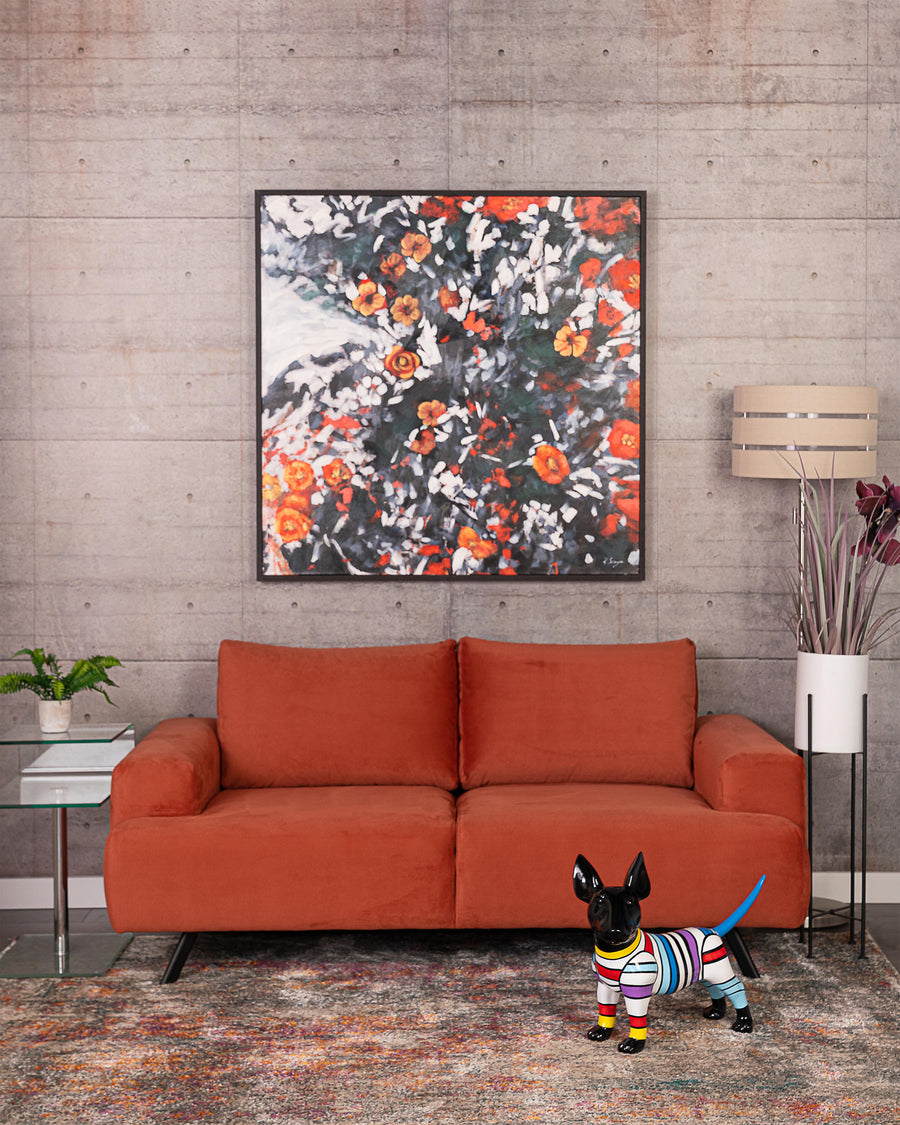 Contemporary Orange Micro Fabric Loveseat | Lindos | Studio | MoblerOnline