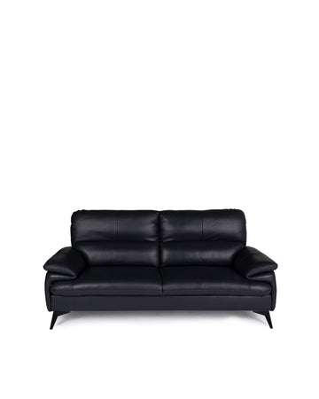 Modern Leather Sofa In Black | Magdalen | Front View | MoblerOnline