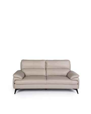 Modern Leather Sofa In Light Grey | Magdalen | Front View | MoblerOnline