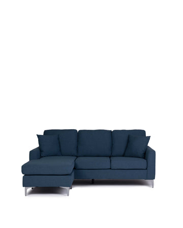 Modern Fabric Universal Sectional In Blue | Oscar | Front View | MoblerOnline