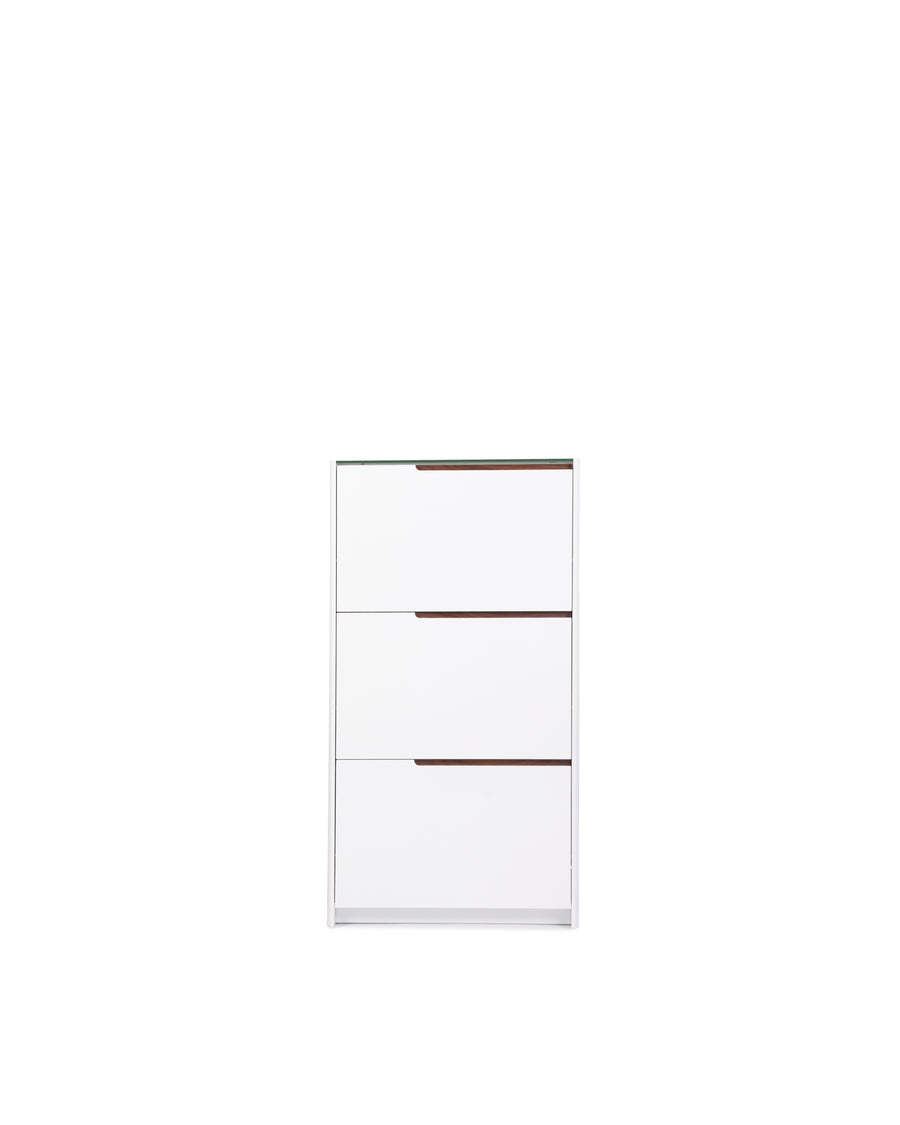 White High Gloss Shoe Cabinet With Glass Top | Scarpa | Front View | MoblerOnline