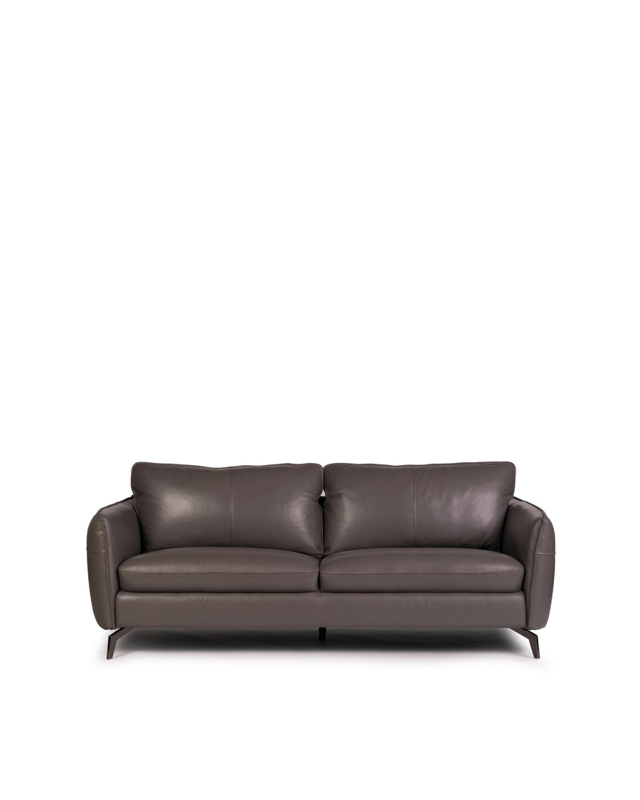 Modern Leather Sofa In Dark Grey With Dark Chrome Leg | Siena | Front View | MoblerOnline