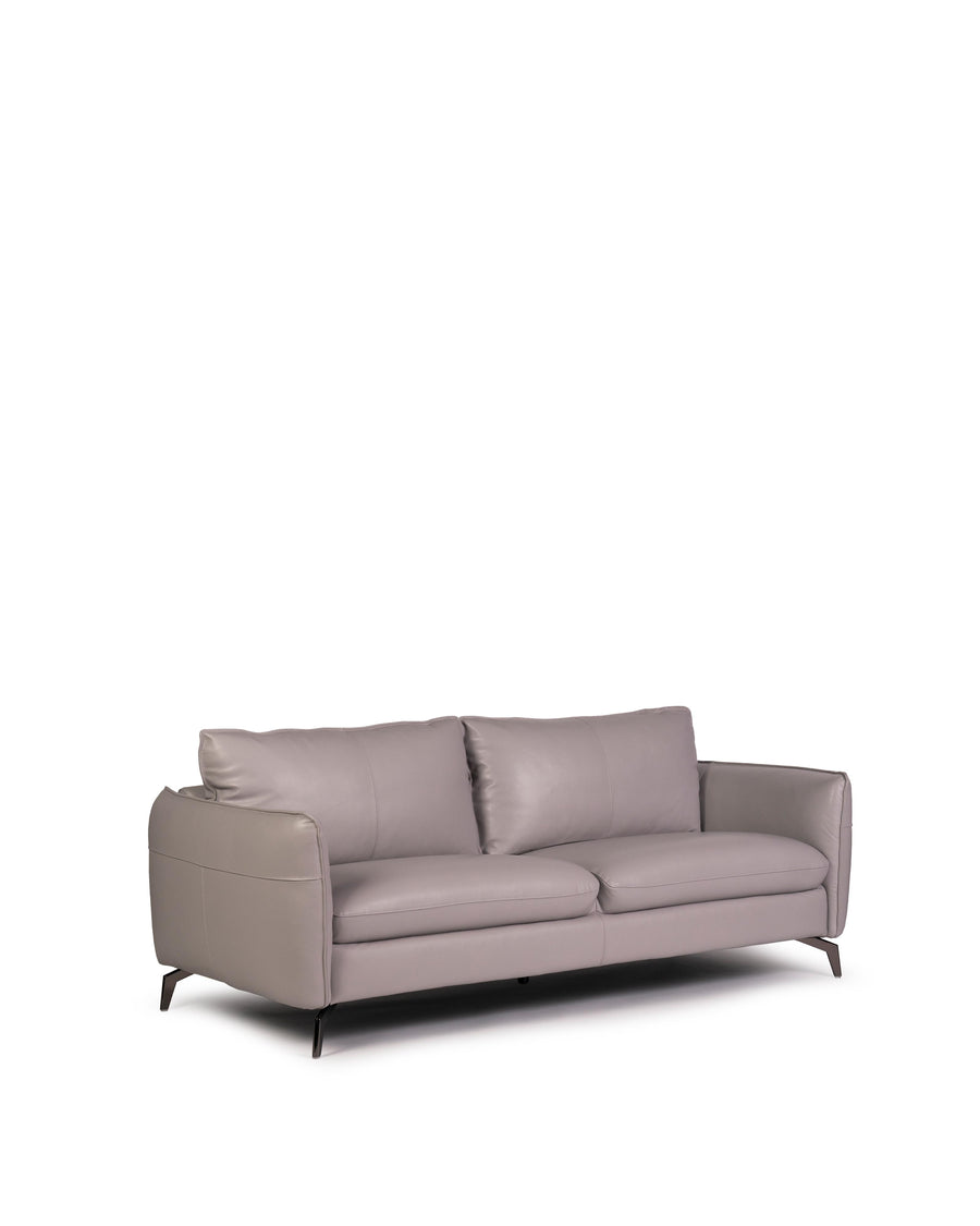 Modern Leather Sofa In Light Grey With Dark Chrome Leg | Siena | Angle View | MoblerOnline