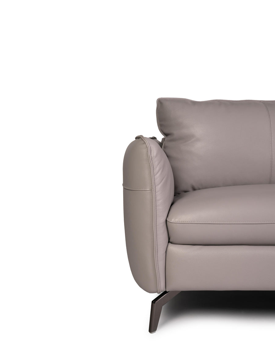 Modern Leather Sofa In Light Grey With Dark Chrome Leg | Siena | Close Up Detail | MoblerOnline