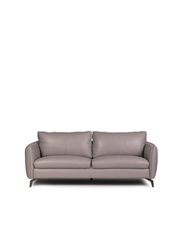 Modern Leather Sofa In Light Grey With Dark Chrome Leg | Siena | Front View | MoblerOnline