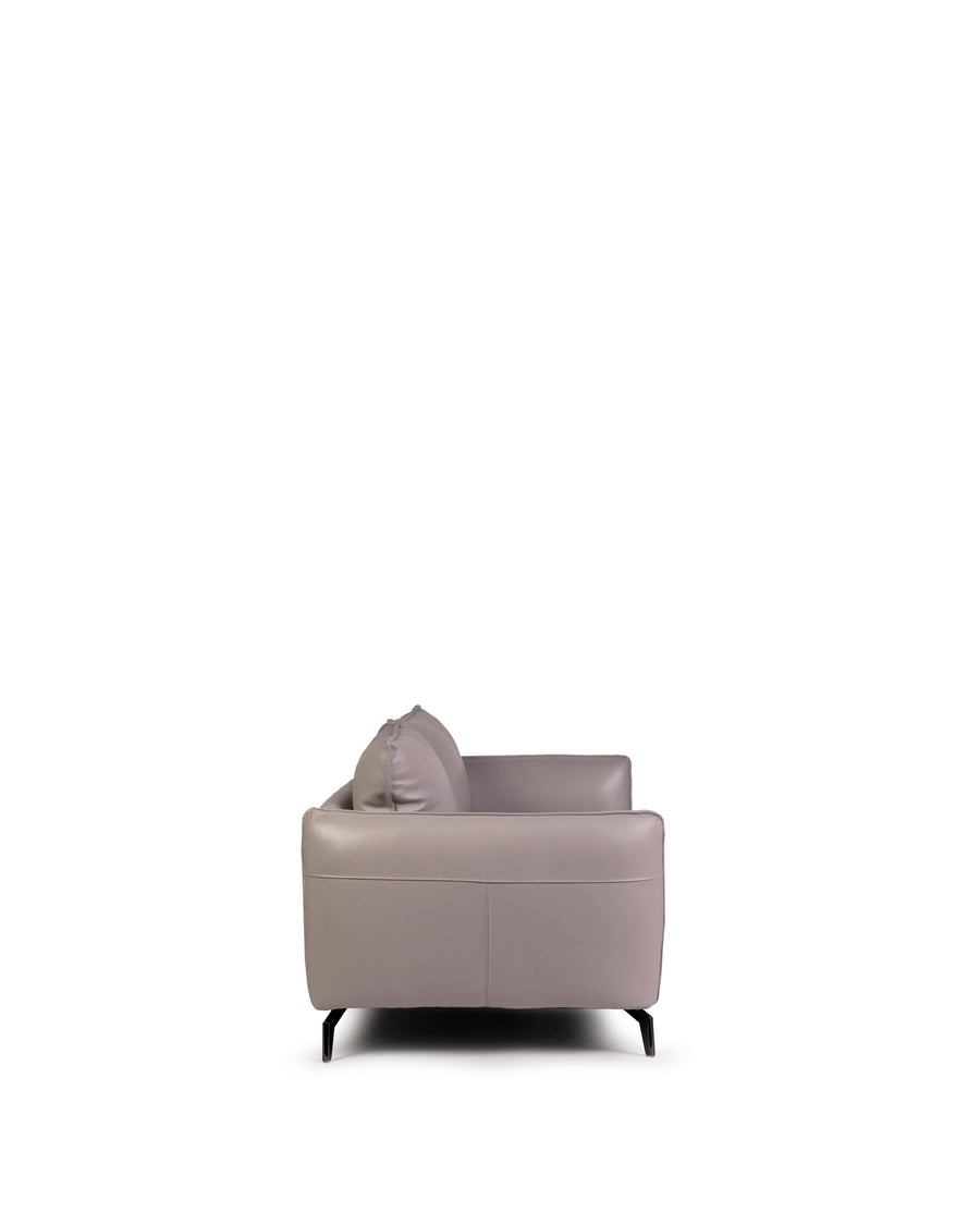 Modern Leather Sofa In Light Grey With Dark Chrome Leg | Siena | Side View | MoblerOnline