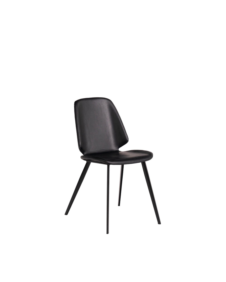 Black Modern Leather Dining Chair (Set of 2) | Brisbane | Angle View | MoblerOnline