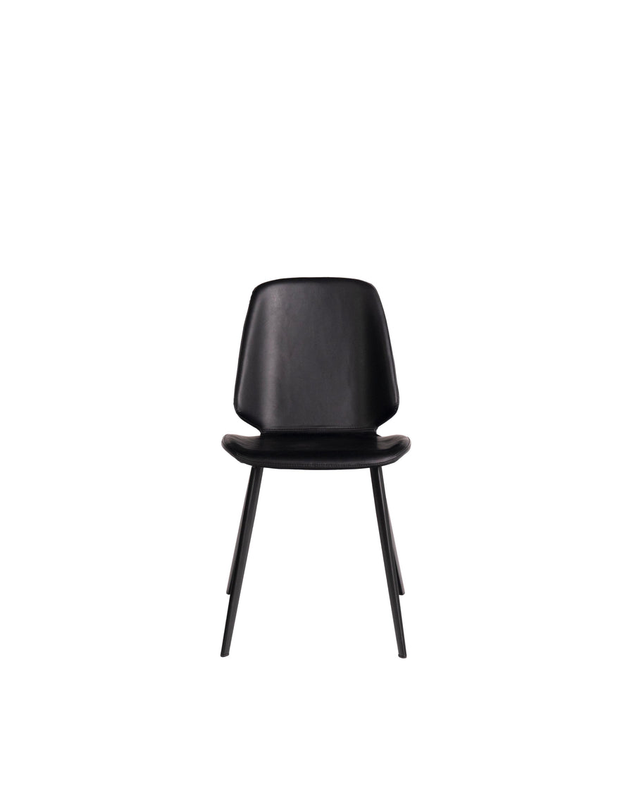 Black Modern Leather Dining Chair (Set of 2) | Brisbane | Front View | MoblerOnline