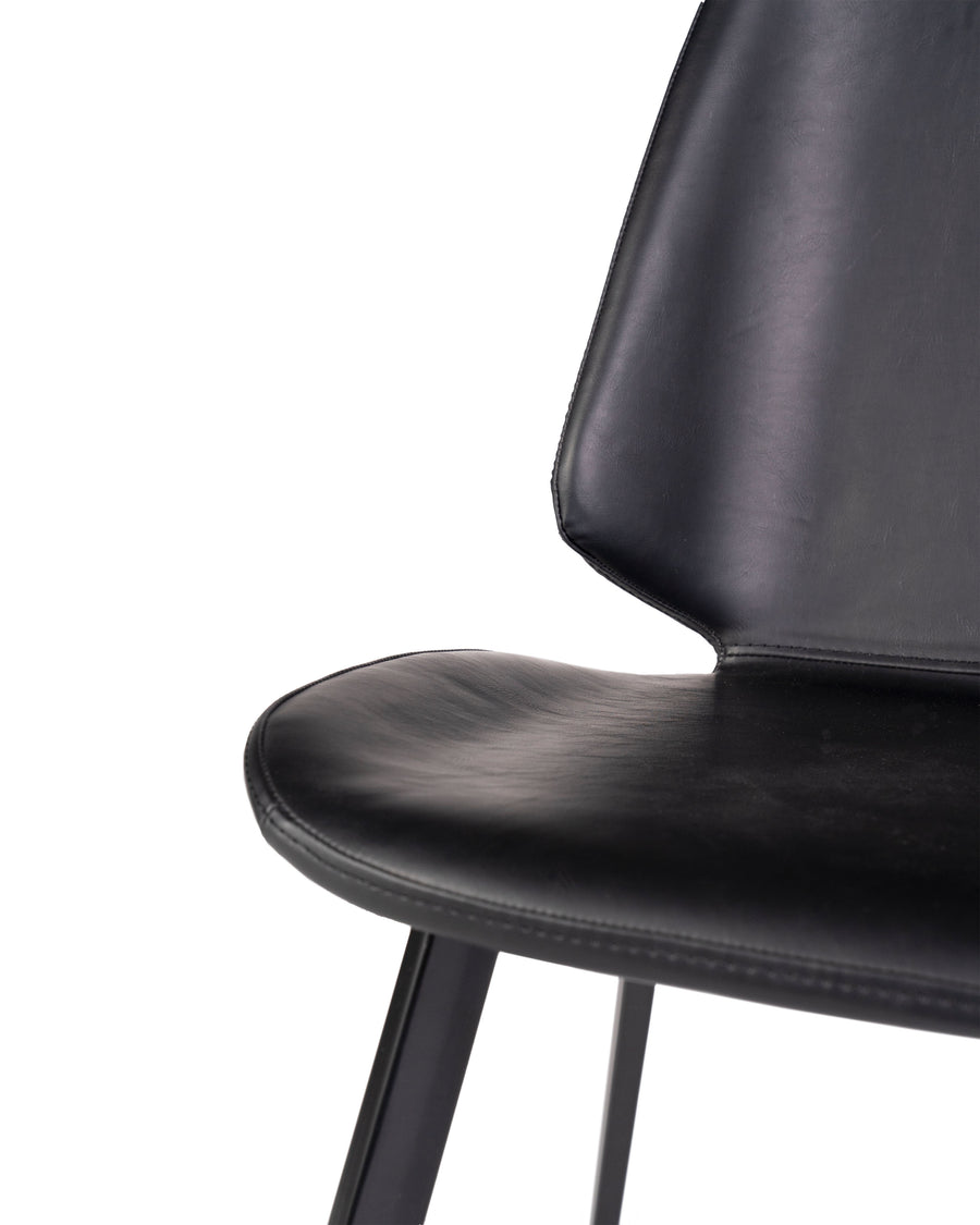Black Modern Leather Dining Chair (Set of 2) | Brisbane | Close Up Detail View | MoblerOnline