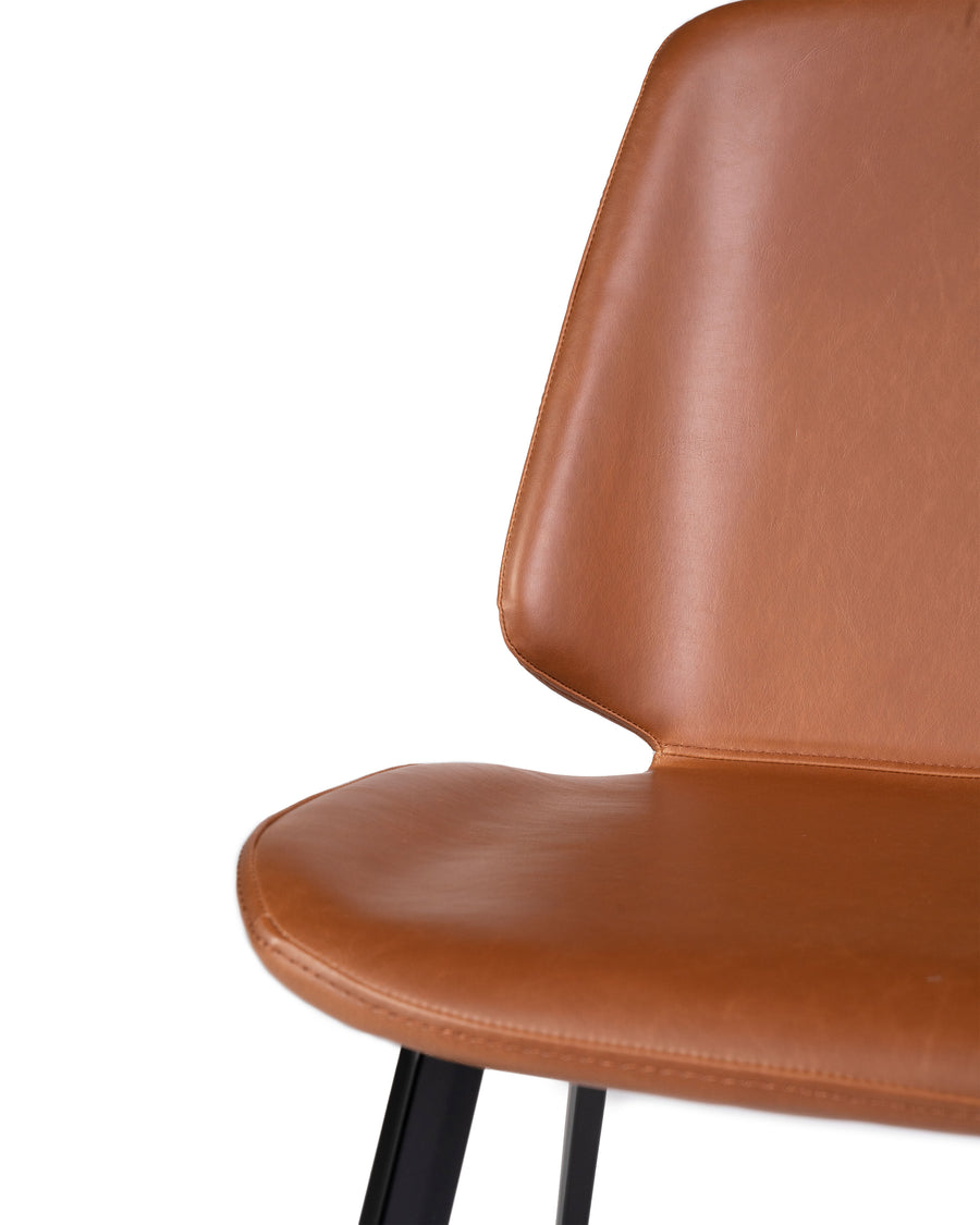 Brown Modern Leather Dining Chair (Set of 2) | Brisbane | Close Up Detail View | MoblerOnline