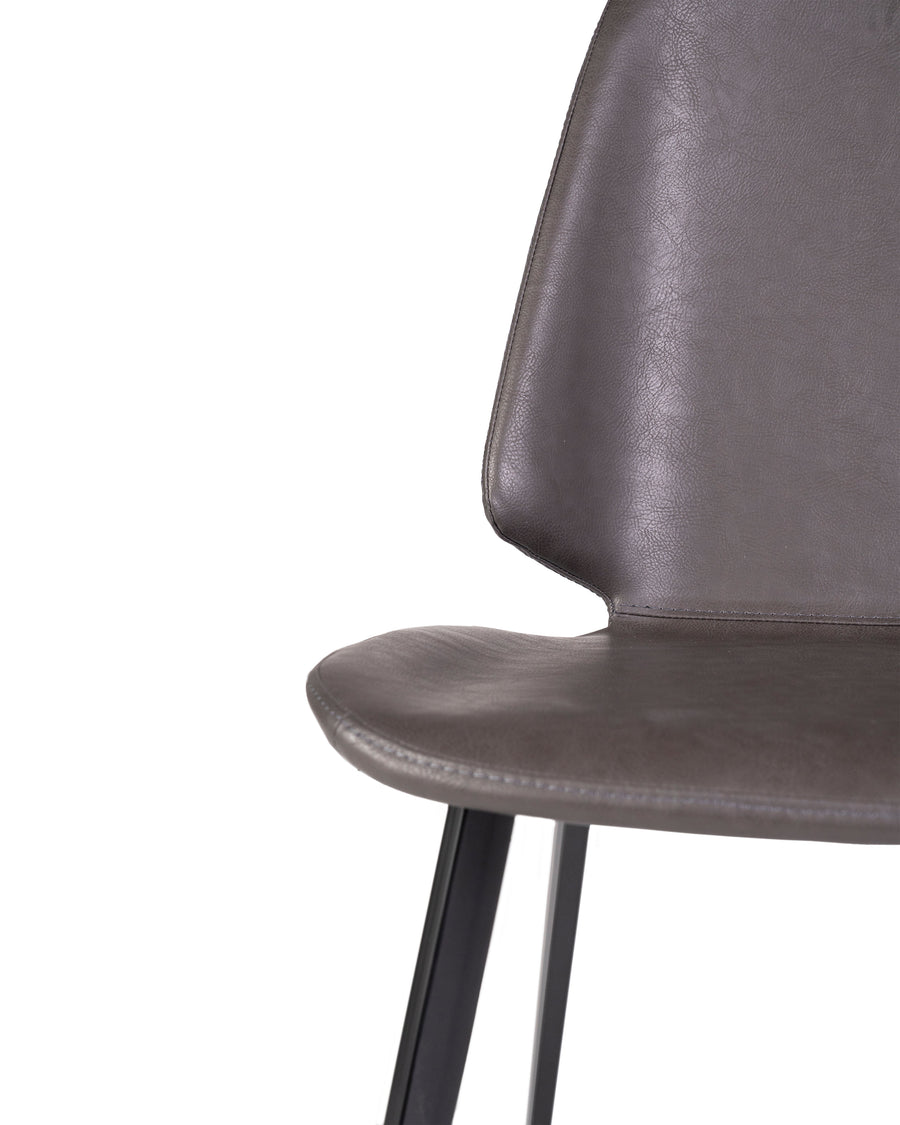 Grey Modern Leather Dining Chair (Set of 2) | Brisbane | Detail Close Up View | MoblerOnline