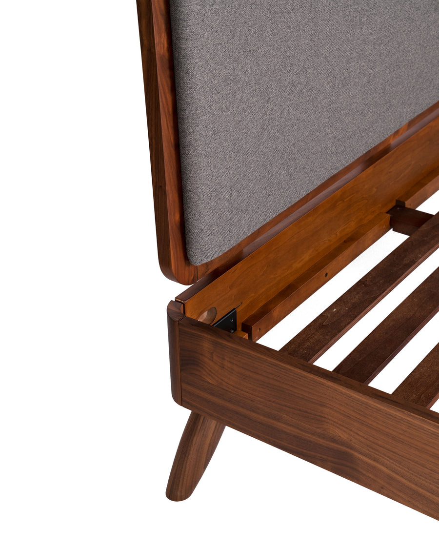Modern Platform Bed | Zamora |  Wood Slat Close Up Detail View | MoblerOnline