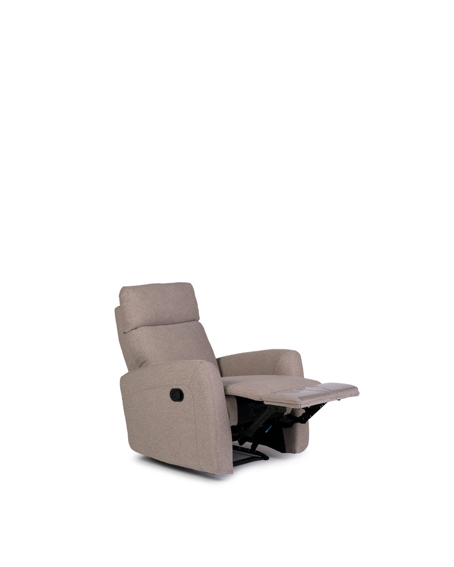 Recliner In Light Grey | Volta | Angle Open View | MoblerOnline