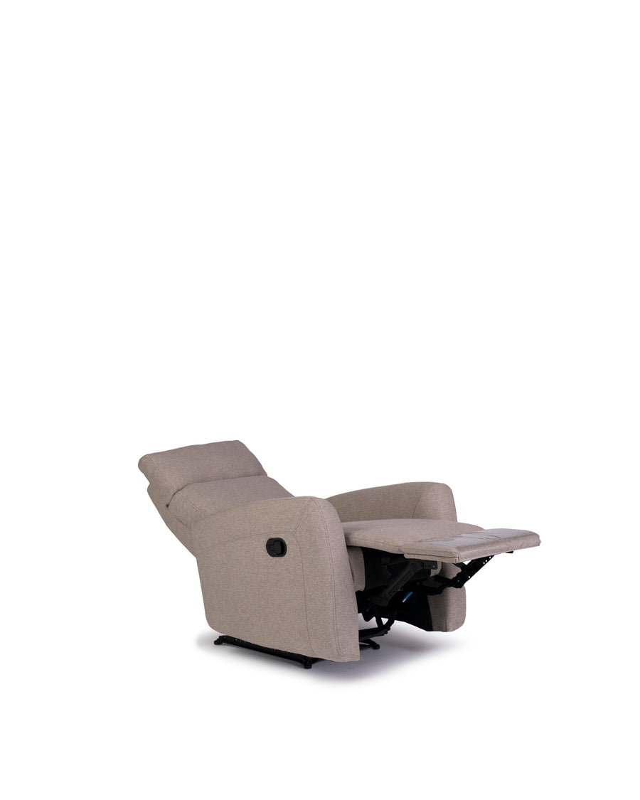 Recliner In Light Grey | Volta | Angle Open Down View | MoblerOnline