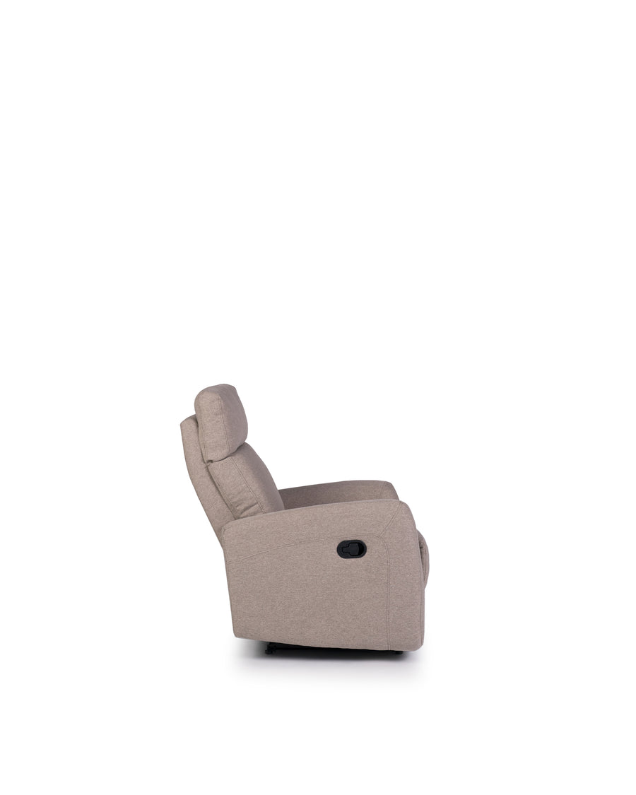Recliner In Light Grey | Volta | Side View | MoblerOnline