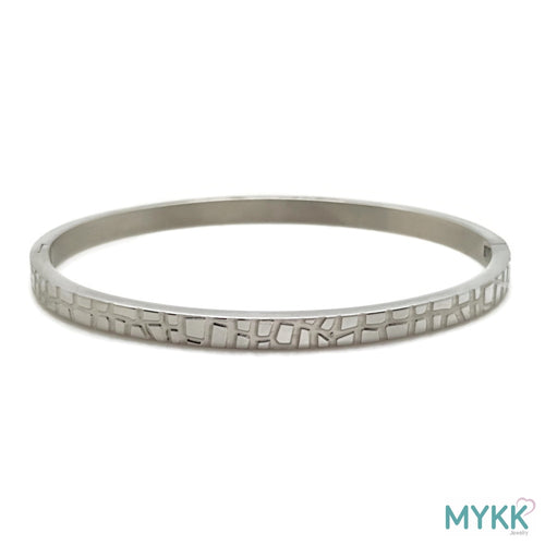 MYKK Jewelry | RVS armband - Bangle krokodil zilver