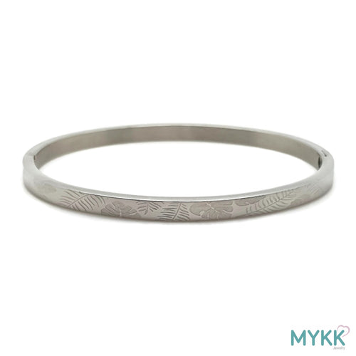 MYKK Jewelry | RVS armband - Bangle blad zilver