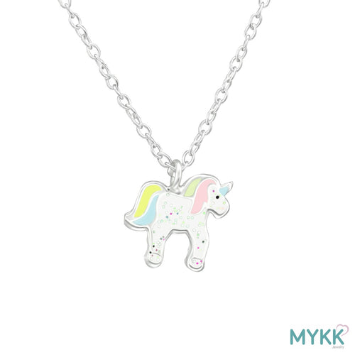 MYKK Jewelry | Kinder sieraden Zilveren kinderketting - Unicorn glitter