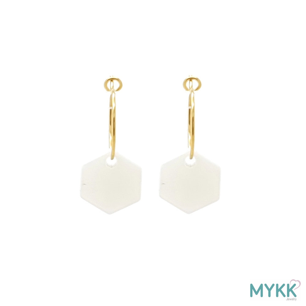 MYKK Jewelry | Oorbellen RVS - Hexagon parel goud