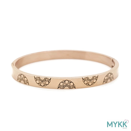 MYKK Jewelry | RVS Zeeuwse knop armband - RVS bangle rose goud