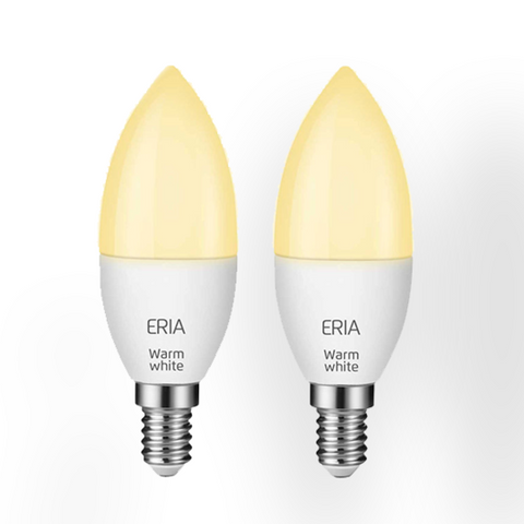 ERIA C40 6W | Twin Pack: Smart Dimmable Warm White E14 Candle Light Bulb