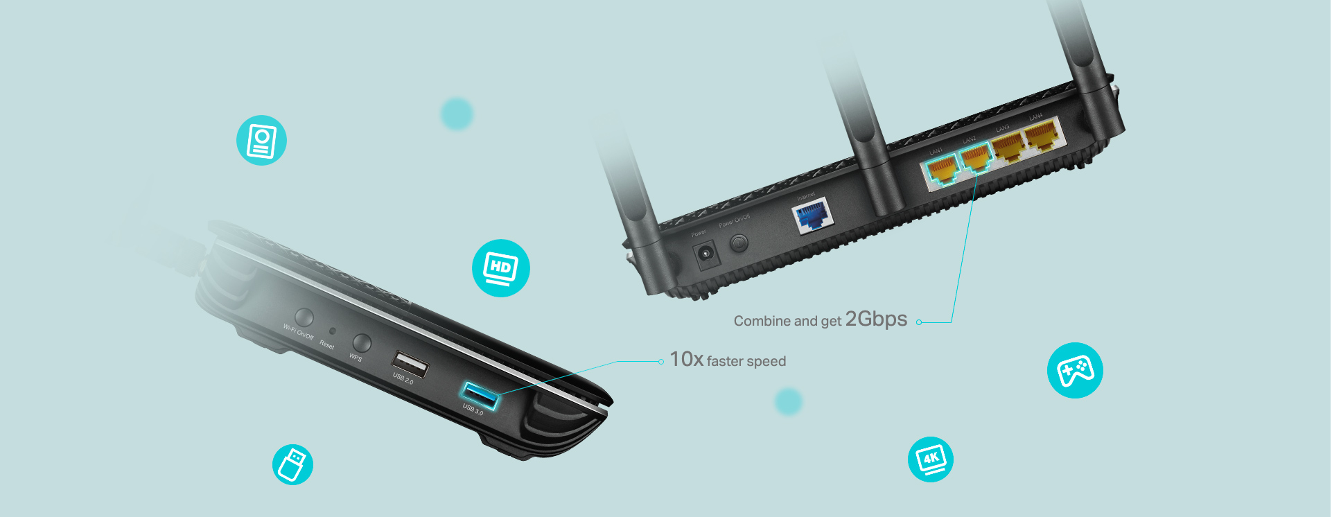 Media Sharing for More Fun USB 3.0 and 2.0 ports make it easy to share photos, videos, and music on your home network.  When away from home, a VPN allows you to securely access NAS drives and other devices connected to the router through USB.