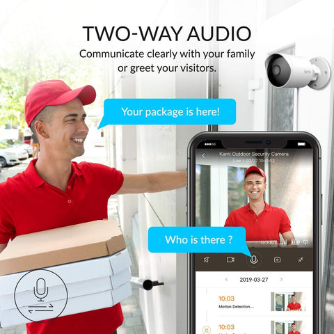 Delivery driver atempting to deliver package and kami H31 outdoor security camera alerting customer on mobile app so they can communicate with 2 way audio through the camera - Connect It Ireland