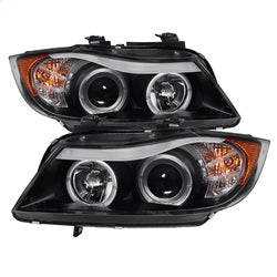 Spyder Auto 5009005 - 4DR Projector Headlights - LED Halo - Amber Reflector - Eyebrow Bulb - Black