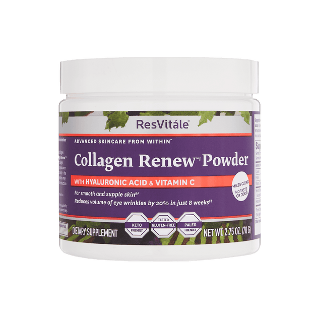 ResVitale, Collagen Renew Powder, Hyaluronic Acid, Vitamin C, Smooth and supple skin. reduces wrinkles by 20%, keto, gluten-free, paleo, mixes clear, tasteless, odorless, 2.75oz powder