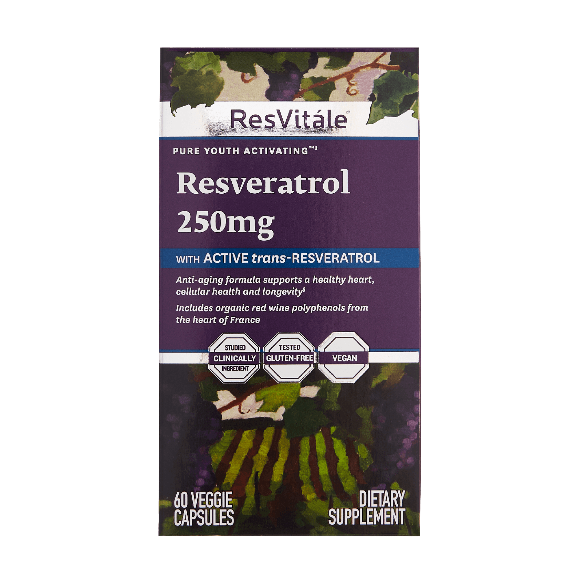 ResVitale, Resveratrol 250mg, Active trans-resveratrol, anti-aging formula, supports healthy heart, cellular health, longevity, red wine polyphenols from France, gluten-free, vegan, 60 capsules