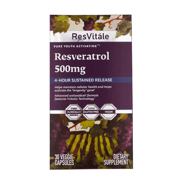 ResVitale, Resveratrol 500mg, 4-hour sustained release, helps maintain cellular health, activates longevity gene, advanced antioxidant, features TriActiv Technology, gluten-free, vegan, 30 capsules