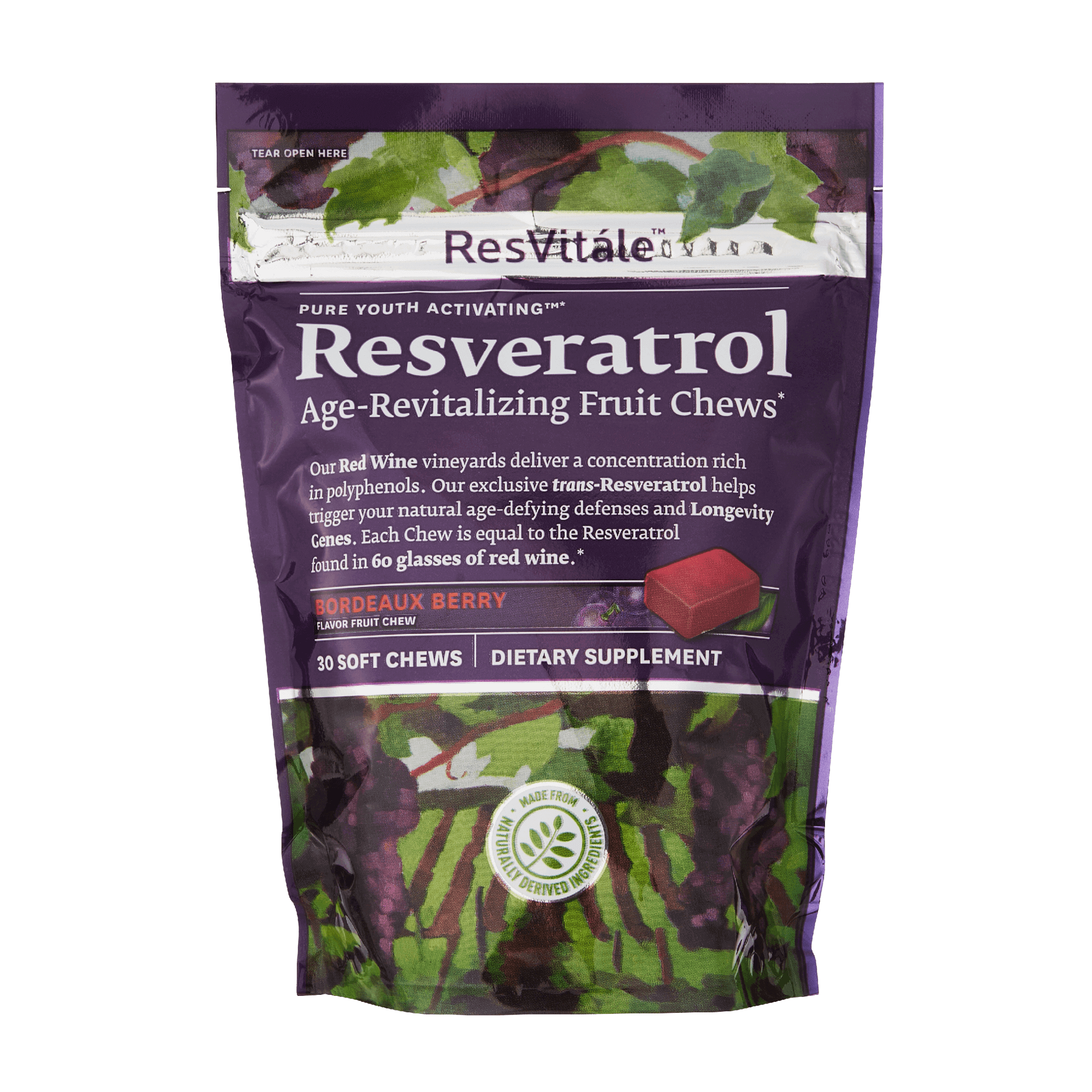 ResVitale, Resveratrol Chews, Age-Revitalizing, red wine concentrated polyphenols, trans-resveratrol, natural age-defying, longevity genes, berry flavored, natural ingredients, 30 soft chews