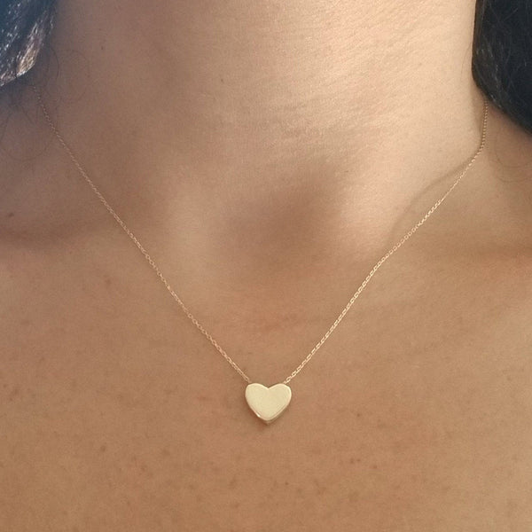 14K Solid Yellow Gold Heart Necklace