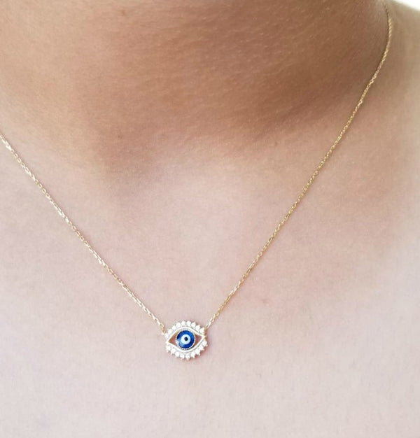 14K Yellow Gold Dainty Evil Eye Necklace