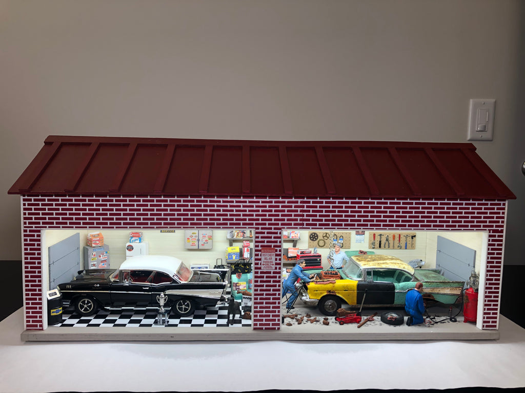 57 Chevys Before & After Garage - Diorama
