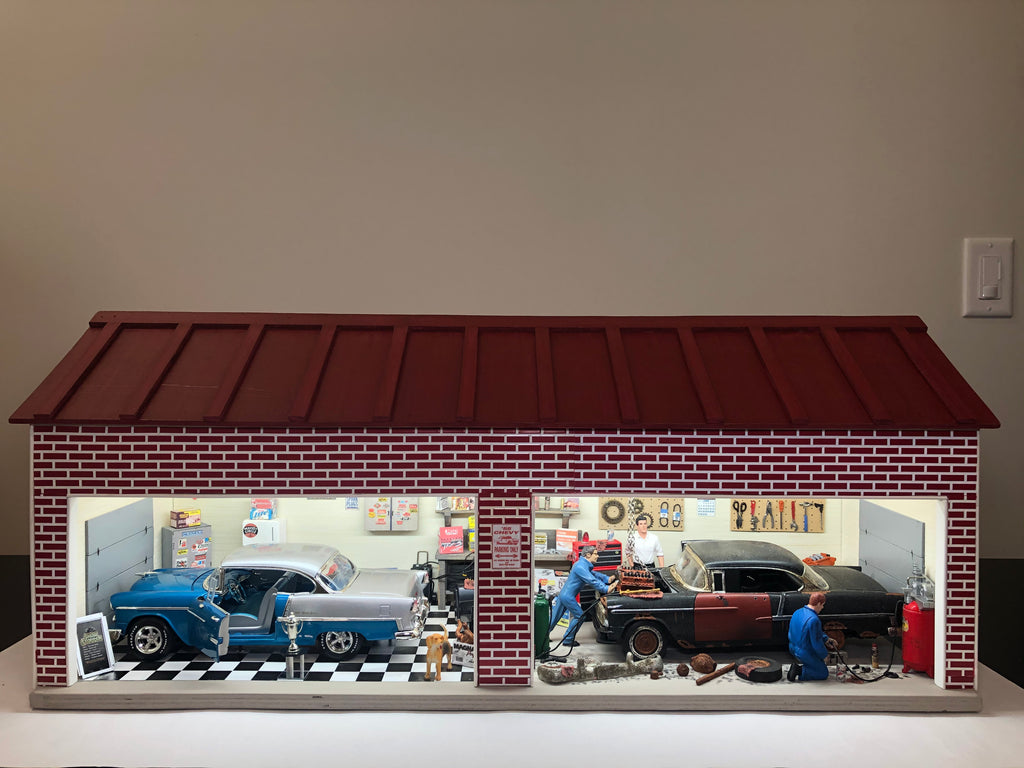 55 Chevys Before & After Garage - Diorama