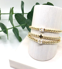 Load image into Gallery viewer, Gold Beaded Cross Bracelet