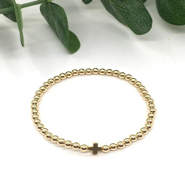 Gold Beaded Cross Bracelet