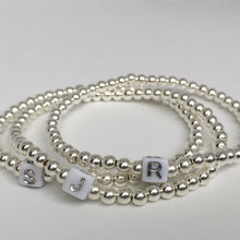 Load image into Gallery viewer, Sterling Silver Beaded Initial Bracelet