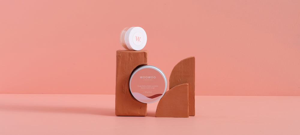 two sizes of shape-shifter balm on terracotta coloured blocks
