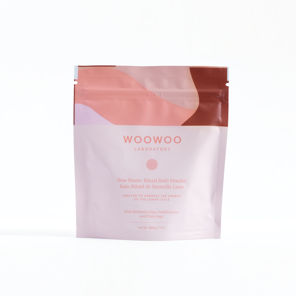light pink sealed zip package with woowoo pattern on top for new moon bath powder