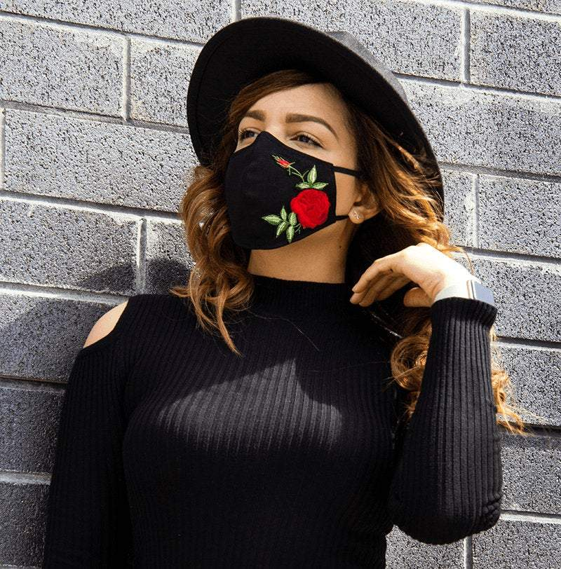 High-Quality | Handmade Adjustable & Washable Face Masks - Red Roses/Black with Filter Pocket  | 100% Organic Linen | Unisex